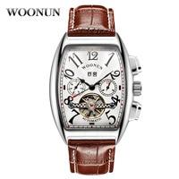 Luxury Tourbillon Watches Men Watches Fashion Tonneau Dial Automatic Mechanical Watch montre homme Leather Band reloj hombre