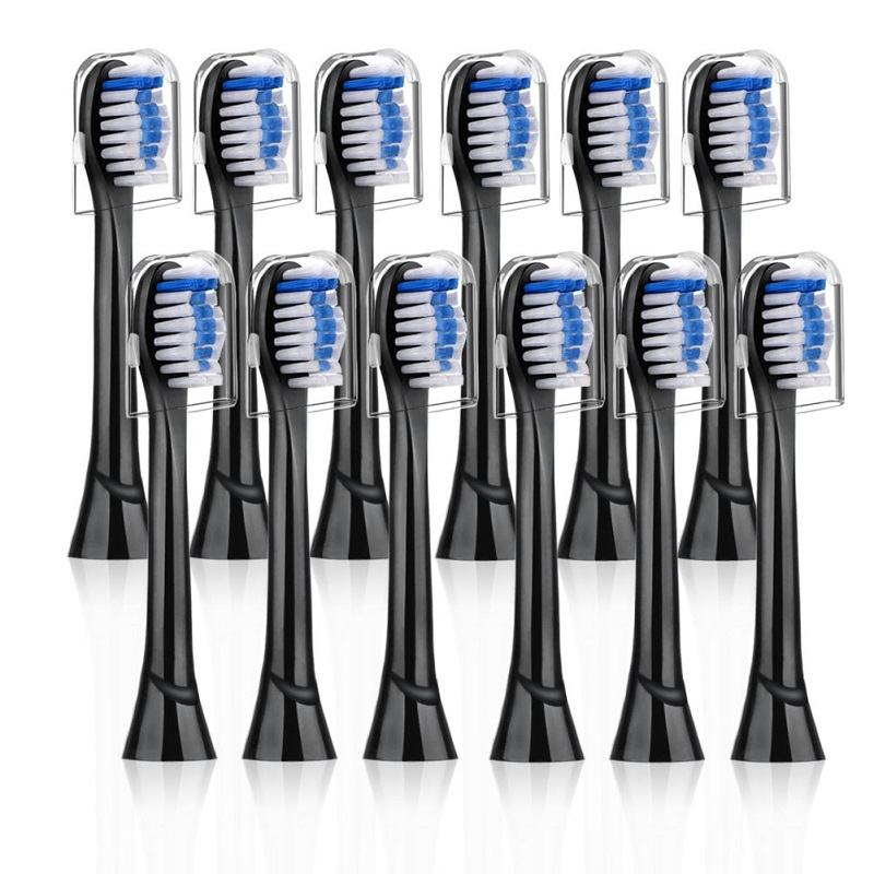 12pcs Replacement Brush Heads For Phillips Sonicare, Black Toothbrush Head Compatible WithDiamondClean/ProtectiveClean Cover Cap