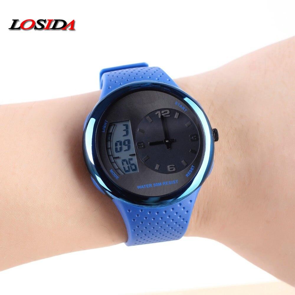 Losida Luxury Brand Top Men Watches Men's Quartz Analog Digital LED Sport Watch Men Army Military Wrist Watch Relogio Masculino
