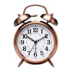 Классический 3-дюймовый будильник, винтажные бесшумные часы с указкой, Круглый номер, двойной громкий звонок, будильник, Ночной светильник, ...