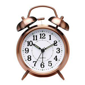 3 Inch Classical Alarm Clock Vintage Silent Pointer Clocks Round Number Dual Bell Loud Alarm Clock Night Light Home Decor
