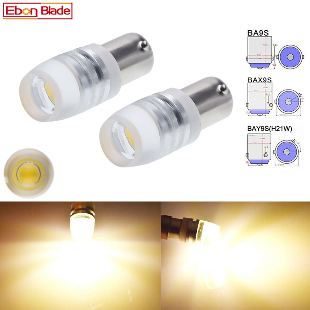 2 lâmpadas led ba9s t11 bax9s h6w bay9s h21w, para interior do carro, mapa, luzes de leitura, lateral, cunha branco quente 6v 12v dc