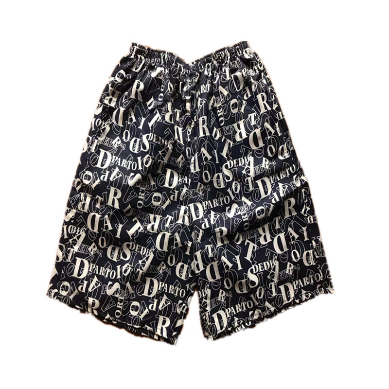 MEN'S Beach Pants Printed Loose-Fit Quick-Dry Short Casual Sports Surfing Drifting Large Trunks Booth Goods