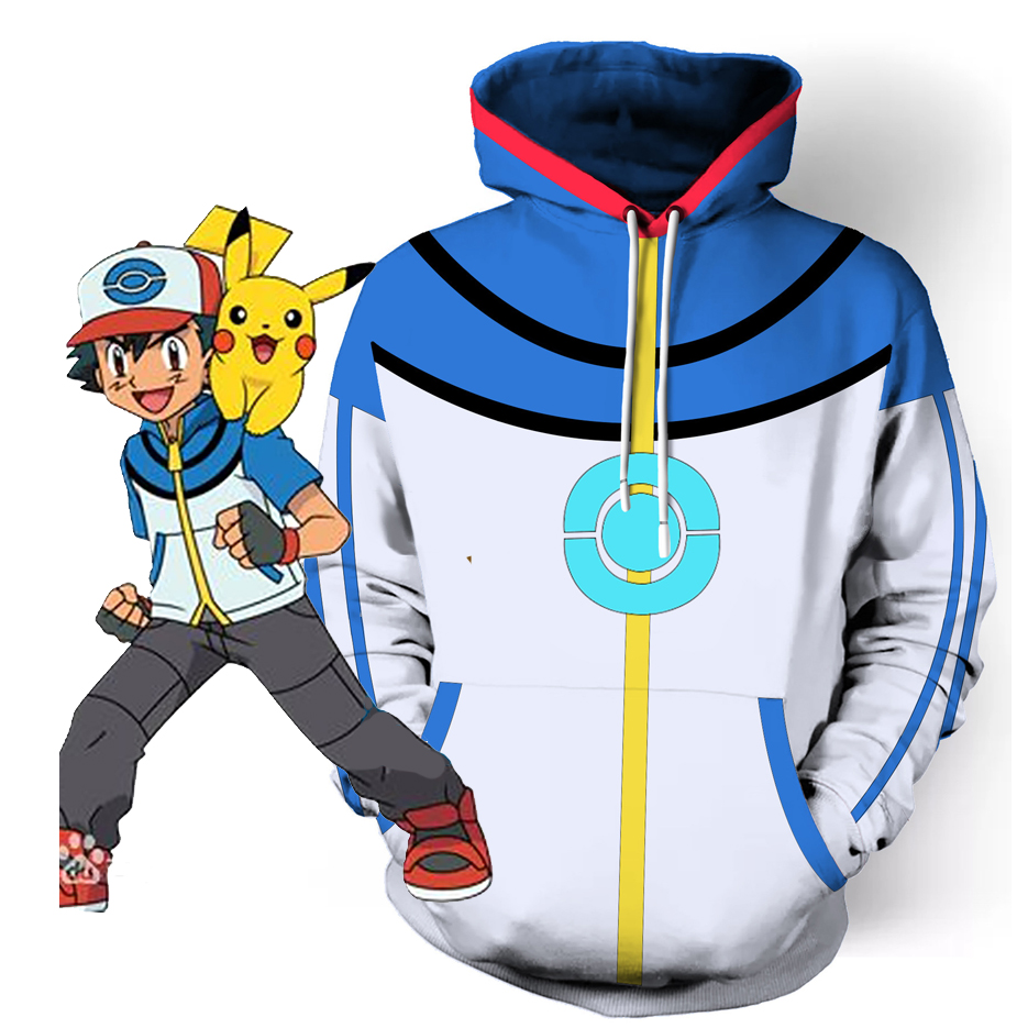 Adult Kids Pokemon Go Plus Ash Ketchum Cosplay Costume Blue Hoodie Jacket Ash Ketchum Costumes