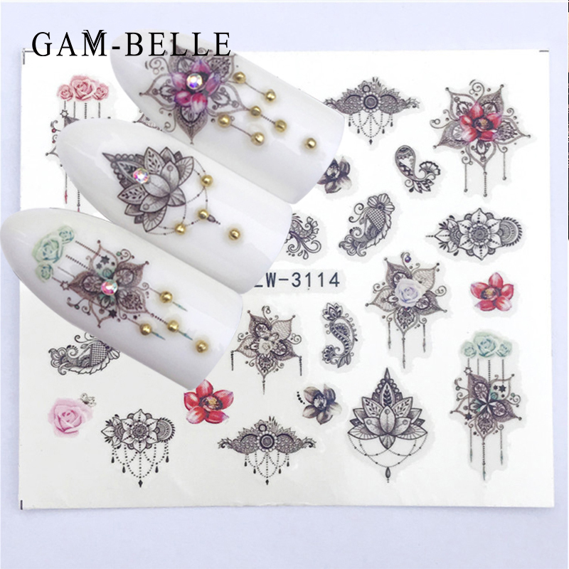 GAM-BELLE Nail Sticker Art Decoration Slider Kangaroo Deer Animal Adhesive Design Water Decal Manicure Lacquer Accessoires