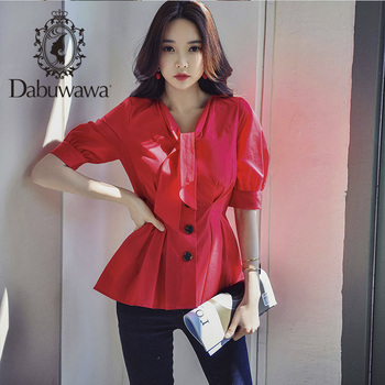 Dabuwawa V Neck Tie Button Front Blouse Women Tops Lantern Sleeve Solid Elegant Shirt Blouses Office Lady DT1BST011 tie neck flounce blouse