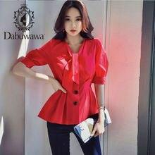 Dabuwawa элегантная красная блуза с v образным вырезом и пуговицами