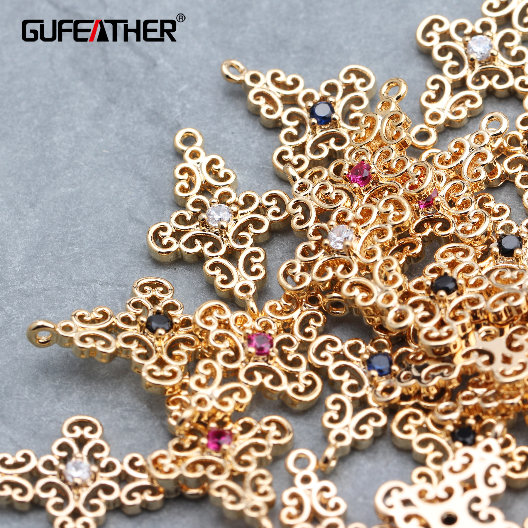 GUFEATHER M616,jewelry Accessories,18k Gold Plated,jump Ring,diy Earring,hand Made,diy Zircon Pendant,jewelry Making,10pcs/lot