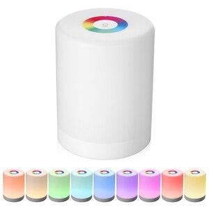 Image 1 - Şarj edilebilir akıllı LED dokunmatik kontrol gece lambası indüksiyon Dimmer akıllı başucu taşınabilir lamba kısılabilir RGB renk değişimi