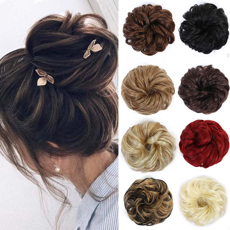 LUPU Elastic Curly Hair, Ladies Hair Band, Extend Messy Bun, Synthetic WigRubber Ponytail Hair Accessories Hair Bun