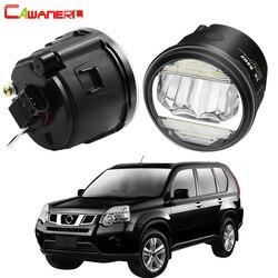 2in1 туман светильник в сборе дневного светильник для Nissan X-Trail T31 2007-2013 передний бампер автомобиля светодиодный противотуманной фары DRL 30 Вт H11 ...