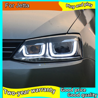 Car Styling Head Lamp for VW Jetta LED Headlight 2011 2015 Double U Angel EYE Jetta LED DRL H7 D2H Hid Option Bi Xenon Beam