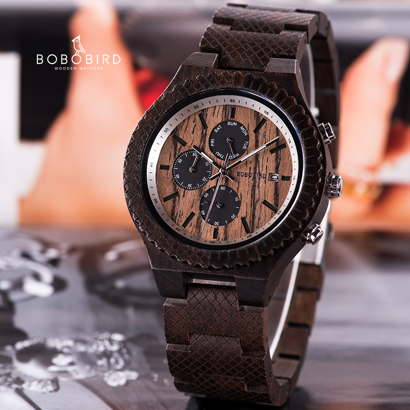 BOBOBIRD Men Wood Date Watch Male Quartz Wristwatches Chronograph Timepiece Relogio Masculino With Gift Box V-T14