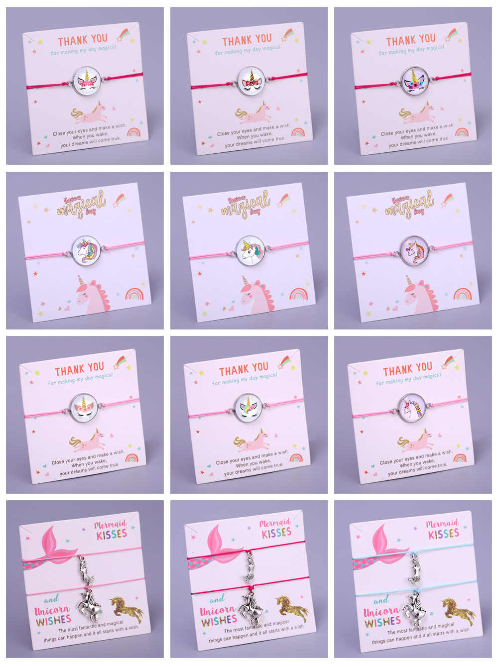 ユニコーン願いマーメイドキスアジャスタブルチャームブレスレット女性少女少年ファッションジュエリーパーティー誕生日クリスマスギフト