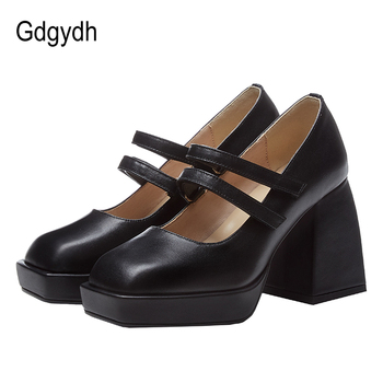 Gdgydh Chunky Heel Punk Women Square Toe Heels 2020 New Spring Summer Mary Janes Shoes Genuine Leather Black White High Quality brand designer women pumps new genuine leather square high heels black white red shoes woman mary janes dress party shoes size43