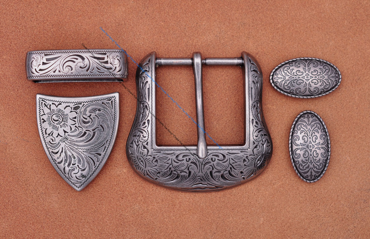 "Antique Silver Floral Engraved Western Cowboy Cowgirl Rodeo Belt Buckle Three Piece Set Unisex Fits 1 1/2"" Strap"