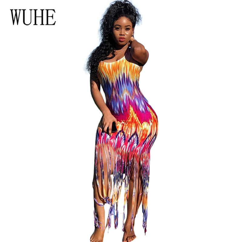 WUHE Fashion Print Sleeveless Tassel Sling Sexy Dress Summer Bohomian Beach Hollow Out Fringe Vintage Women Slim Mujer