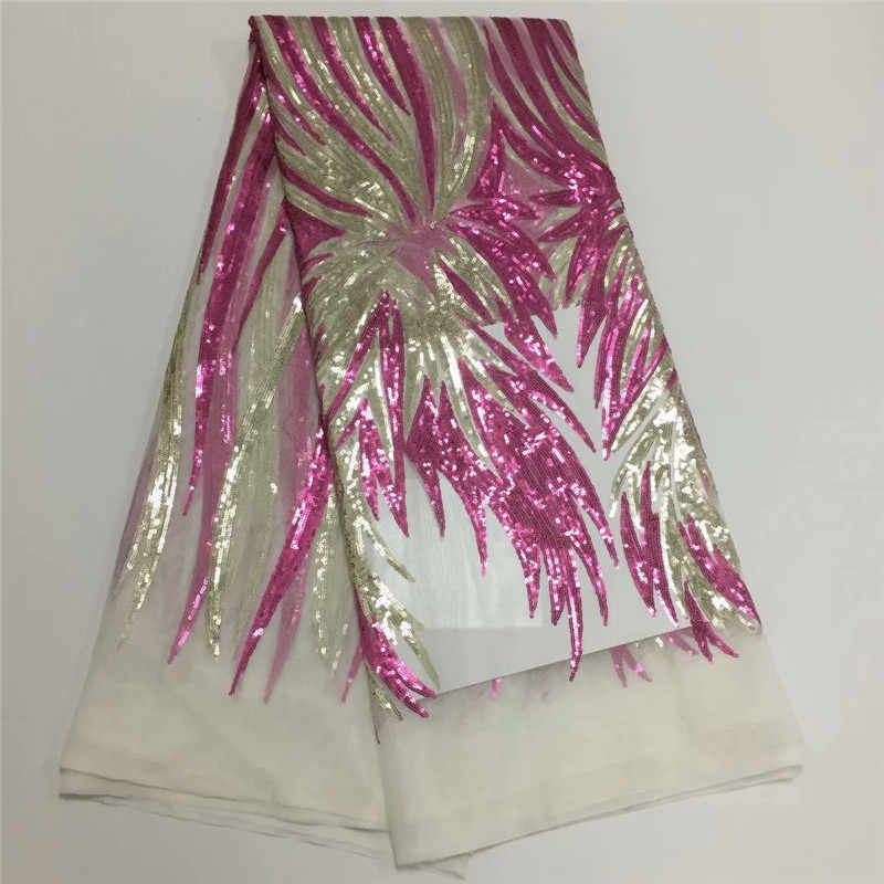 Nero/oro tessuto africano del merletto 2019 di alta qualità del merletto francese tessuto di maglia di paillettes nigeriano svizzero tessuti di pizzo per il vestito
