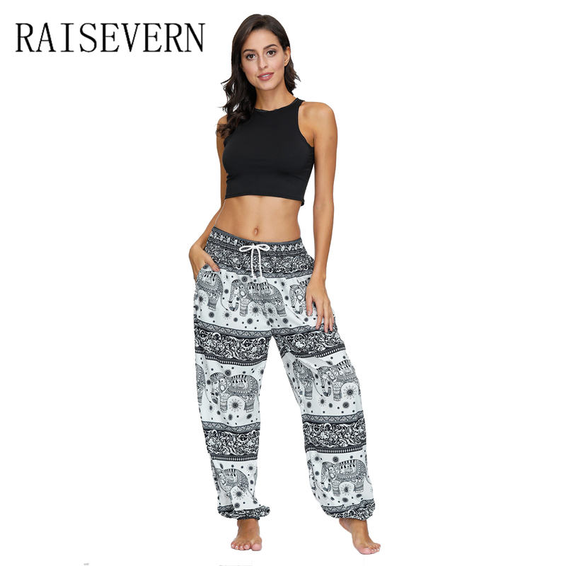 Female Casual Pants Thai Style Elephant Printing Drawstring Pants Loose Leisure Trousers Women Sweatpants