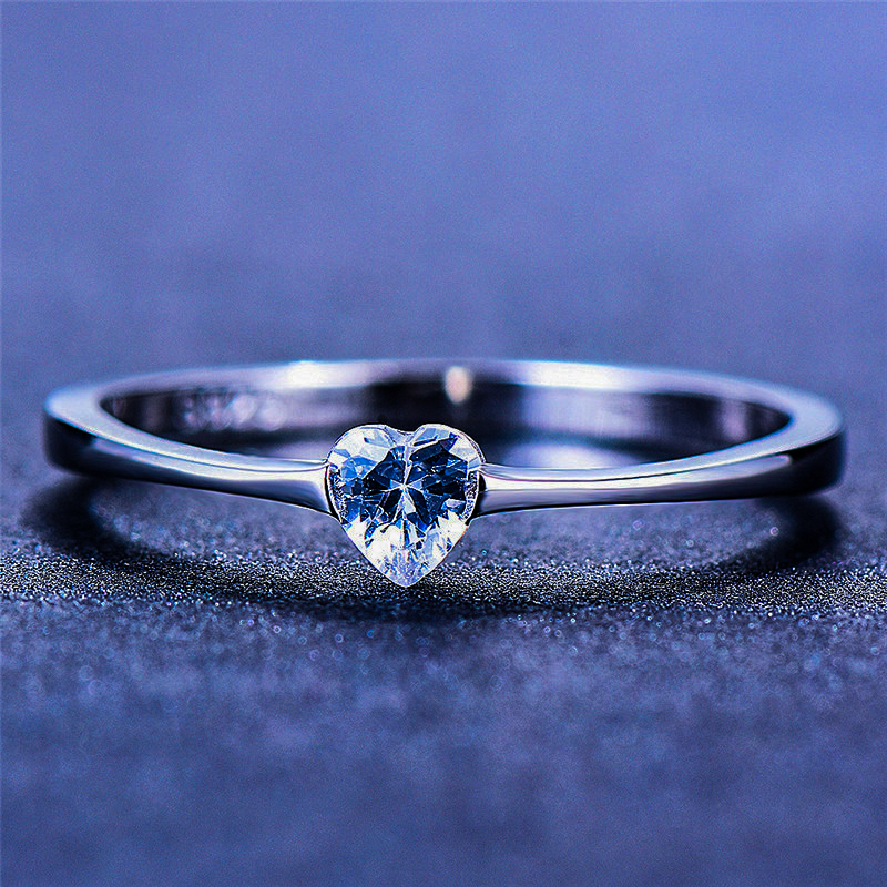 Luxury Female Small Heart Ring 100% Real 925 Sterling Silver Zircon Stone Ring Boho Promise Love Engagement Rings For Women