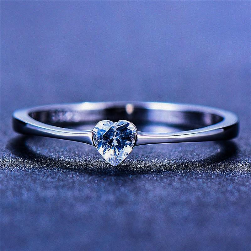 Luxury Female Small Heart Ring 100% Real 925 Sterling Silver Zircon Stone Ring Boho Promise Love Engagement Rings For Women