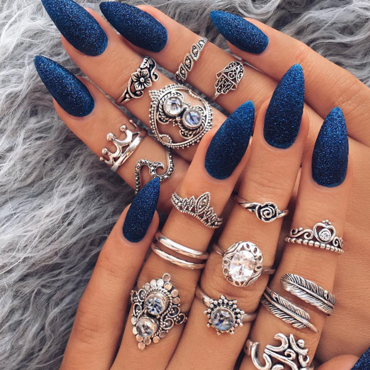 Vintage Purple Crystal Knuckle Rings for Women Bohemian Geometric Anel Finger Ring Set Boho Party Anillos Mujer Jewellery 2019 Pakistan