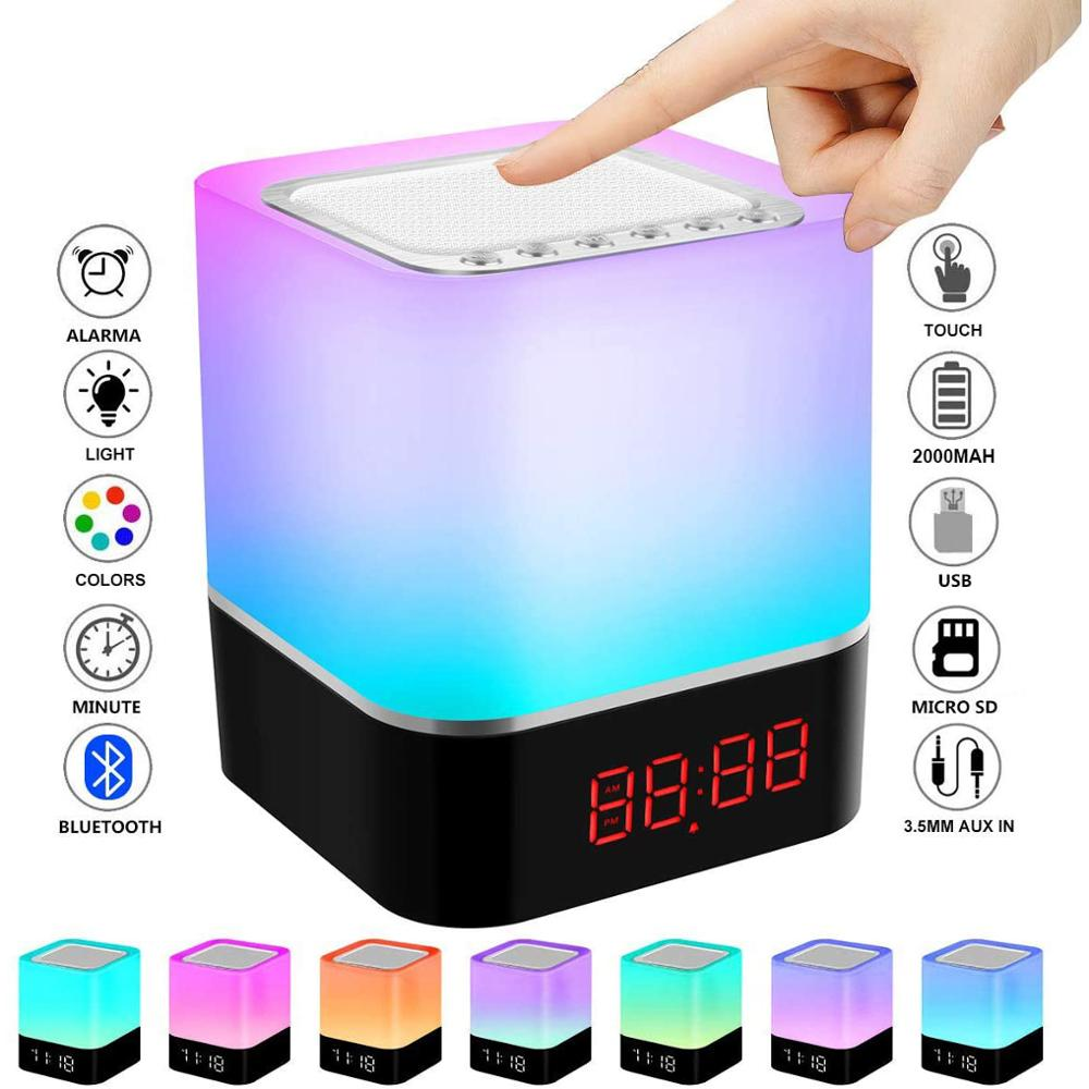 LED Touch Night Light, Bluetooth Speaker Lamp, Portable Wireless Speaker Bedside Lamp, USB Rechargeable Table Lamp, Alarm Clock