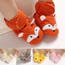 Новинка; хлопковая обувь для маленьких мальчиков и девочек с изображением лисы; нескользящая обувь с мягкой подошвой для новорожденных детей 0-15 месяцев