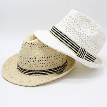 parent-child straw hats panama band belted weave adult kids summer spring formal casual wide brim white women