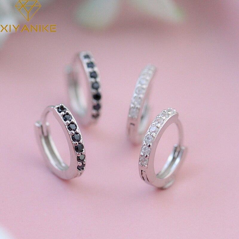 XIYANIKE 925 Sterling Silber Micro-intarsien Zirkon Kreis Hoop Ohrringe Weibliche Mode Handmade Elegante Schmuck Geschenk Zubehör