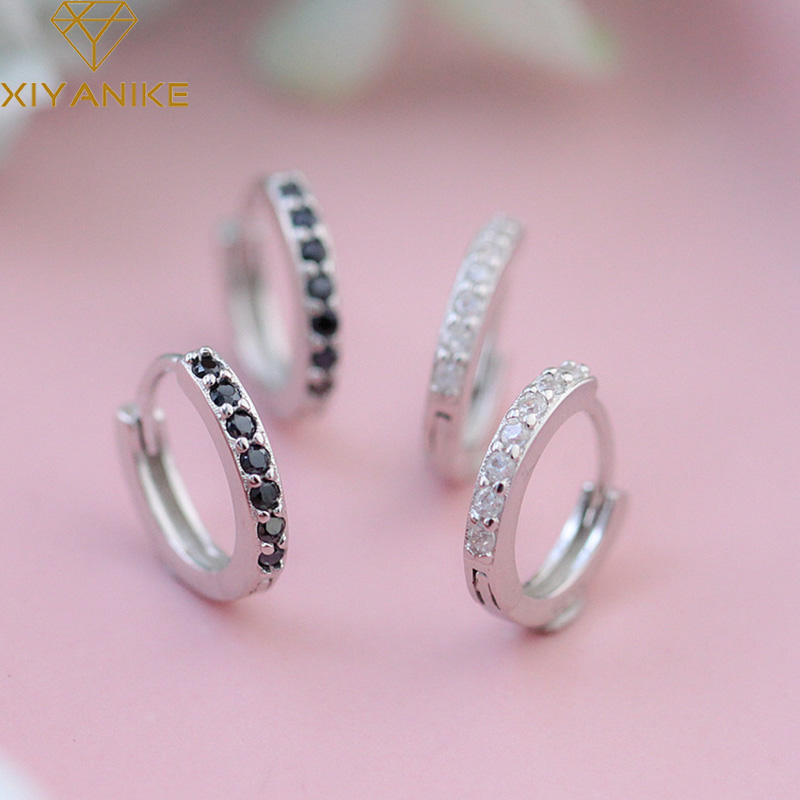 XIYANIKE 925 en argent Sterling Micro-incrusté Zircon cercle boucles d'oreilles femme mode à la main élégant bijoux cadeau accessoires