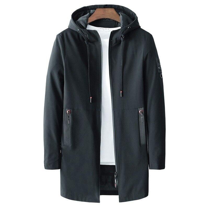 Brand Men New 2018 Autumn Casual Long Jacket Trench Coats Men Fashion Hooded Solid Elastic Windbreaker Pocket Trench Jackets Men