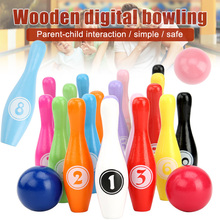 Wooden Bowling Set for Children with Numbers Family Game Par
