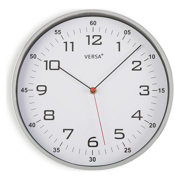 Wall Clock Plastic (4,5 x 30,5 x 30,5 cm) Silver