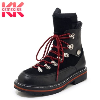 KemeKiss Women Ankle Boots Real Leather Warm Winter Shoes Women Casual Flat Boots Fashion Lace Up Female Footwear Size 34-39