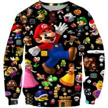 Pullover girocollo classico Cartoon Mario 3D nuovo stile Harajuku gioco classico Mario Bros abbigliamento per bambini Mario Boys Streetwear