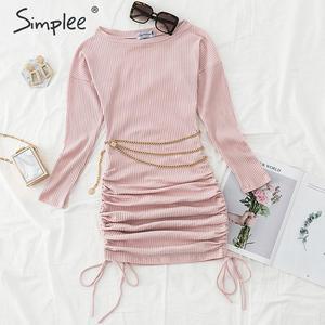 Image 5 - Simplee femmes élégantes robe tricotée élastique grande taille cordon sexy automne robe moulante hiver dame fête mini robe vestidos