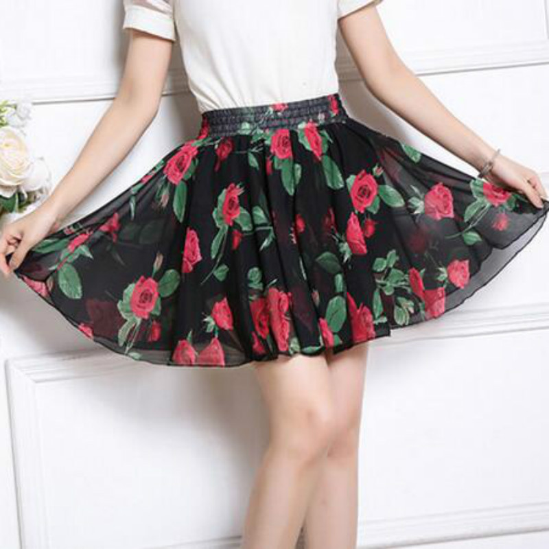 Summer 2020 chiffon women skirt flower printed korean style skirts women high waist beach short skirt plus size women clothing