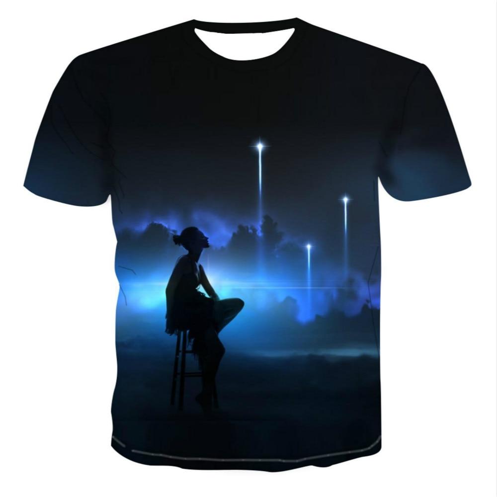2020 w nowym stylu, 3D kolor/horror gwiazda kreskówki/T-shirt, krajobraz z krótkim rękawem, moda kreatywny artystyczny design, Asian size inform