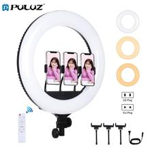PULUZ 18 inch 46cm USB 3 Modes Dimmable White Light LED Ring Vlogging Photography Video Light with Remote Control&3xPhone Clamps