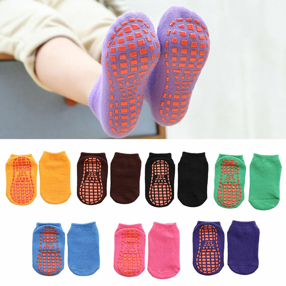 Solid Color Kids Girl Boy Anti Slip Breathable Elastic Sports Ankle Floor Socks Cotton Kids Floor Socks Baby Slippers