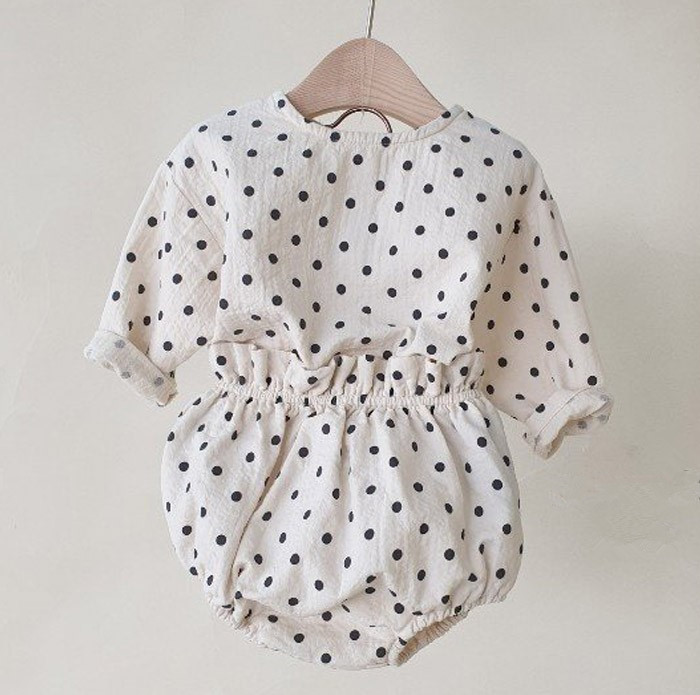 Infant Spring Cute Cotton And Linen Suit Baby Polka Dot Coat Lantern Shorts Two-Piece Set Kids Clothes