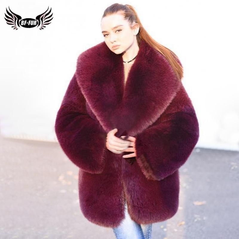 BFFUR 2019 Real Fur Coat Women Natrual Fox Fur Jacket Full Pelt Luxurious Outfit Burgundy Red Female Park With Genuine Fox Fur