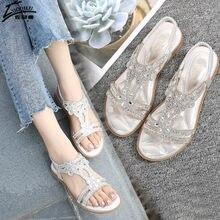 Sandálias femininas de cristal, douradas, prata, para moças, sapatos baixos, tamanhos grandes 40 e 41, sandália feminina verão 2020
