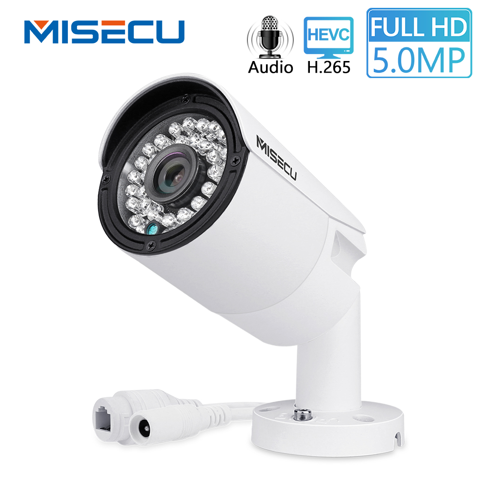 MISECU H.265 Full HD 2MP 5MP Security Audio IP Camera 1080P Metal Waterproof POE ONVIF Bullet Outdoor CCTV Surveillance Camera
