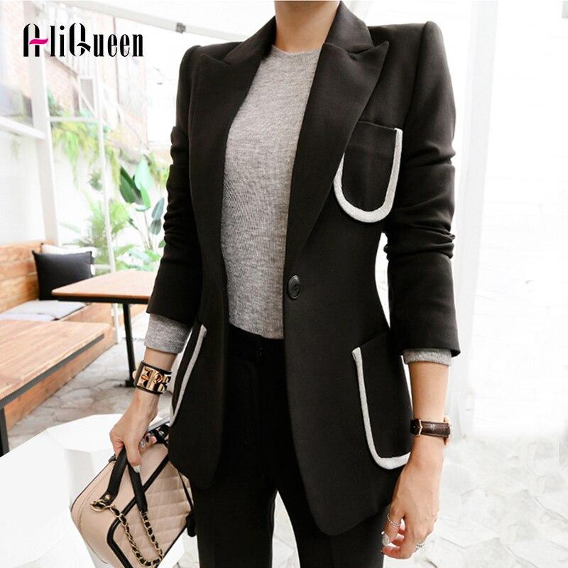 2019 Runway Vintage Women's Suit 2 Pieces Set Autumn Elegant Single Button Notched Bussines Suits Ladies Black Blazer Pant Suits