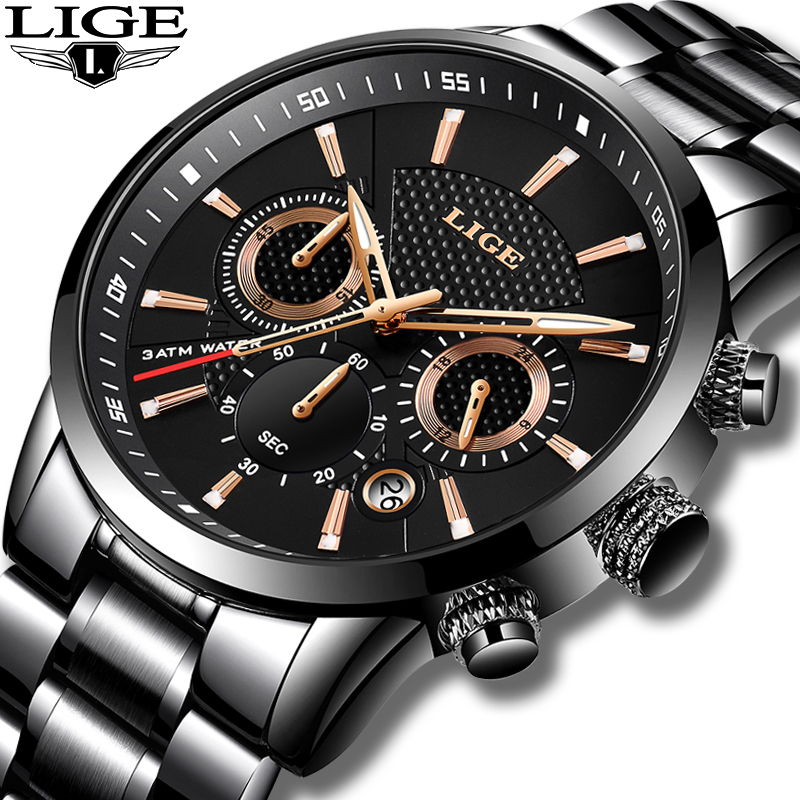 LIGE 2018 Watch Men Fashion Sport Quartz Clock Mens Watches Brand Luxury Full Steel Business Waterproof Watch Relogio Masculino-in Quartz Watches from Watches