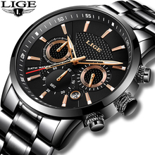 LIGE Waterproof Watch Quartz-Clock Business Sport Men Fashion Brand Luxury Full-Steel