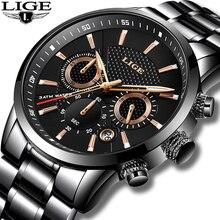 LIGE montre étanche pour hommes, montre de Sport à Quartz, marque de luxe, entièrement en acier, Business, étanche, 2018