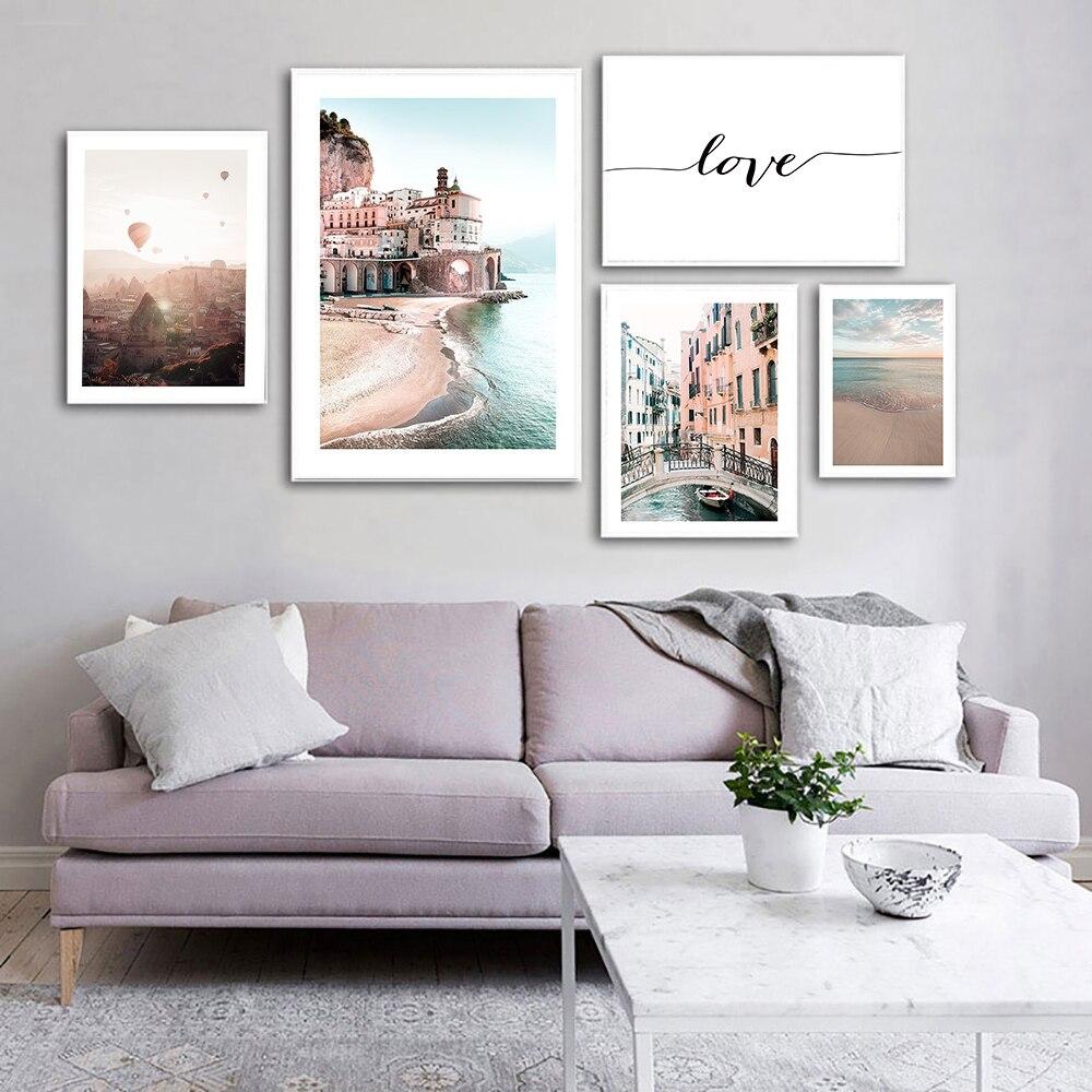 Италия типа «Венеция плакат природа пейзаж печать морской пляж любовь Цитата живопись на холсте морской фотографии настенные декорации